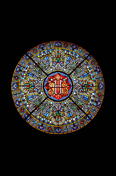 stained glass in a cathedral - rose window stock pictures, royalty-free photos & images