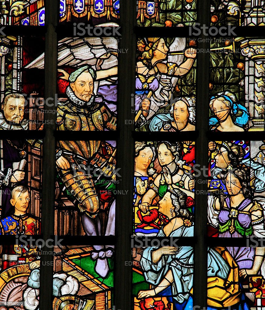 Stained Glass in Amsterdam - Willem van Oranje stock photo