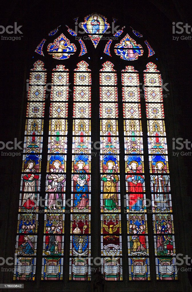 """Stained glass in cathedral, Ghent """"Close view of one of the stained glass windows of the Saint Baafs cathedral in Ghent, Belgium"""" Abundance Stock Photo"""
