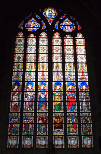 Stained Glass In Cathedral Ghent Stock Photo - Download Image Now