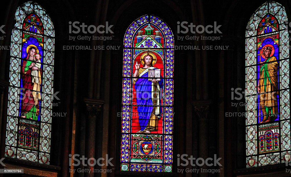 Stained Glass in Church of Saint Germain des Pres in Paris stock photo