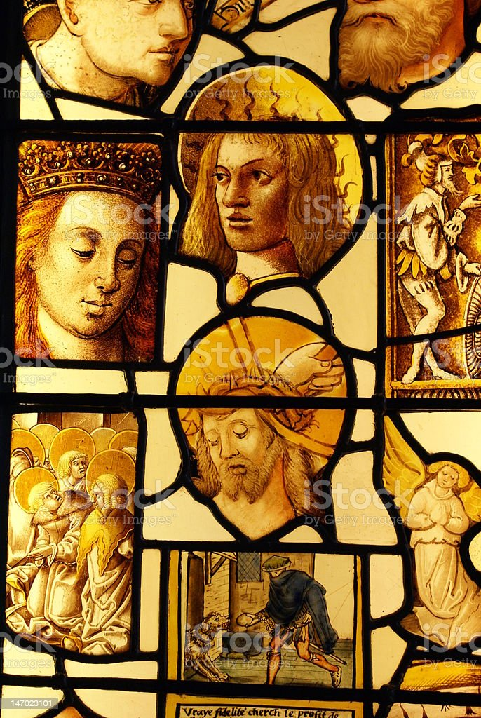 Stained glass in King's College Chapel royalty-free stock photo