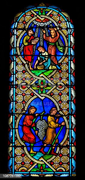 Stained Glass in the Cathedral of Monaco, depicting Holy Communion with the Body and Blood of Christ