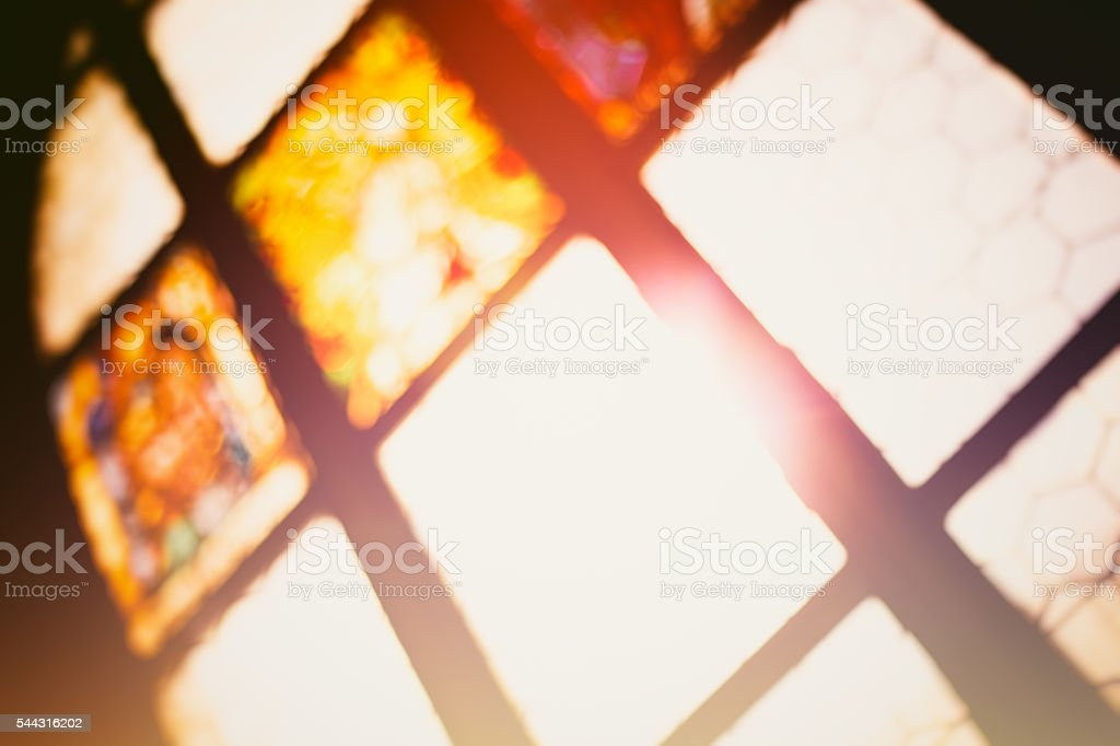 Stained glass in monastery stock photo