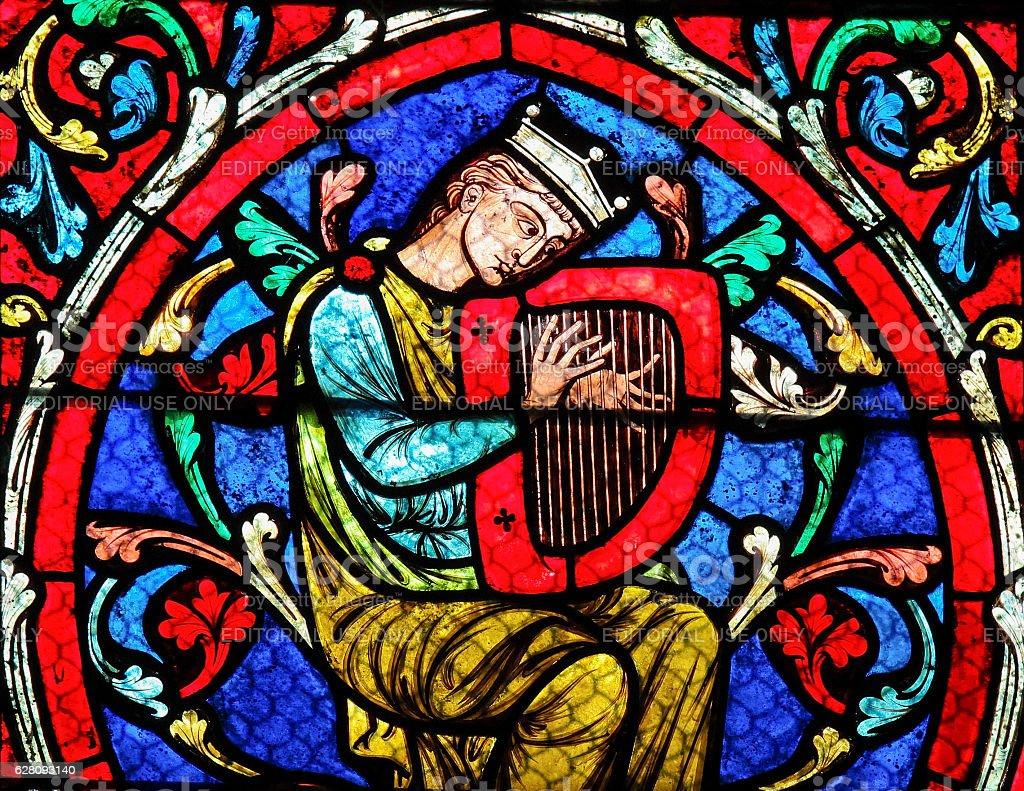 Stained glass in Notre Dame Cathedral, Paris - King David stock photo