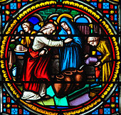 Stained Glass in the Chapel of Notre-Dame-des-flots (1857) in Sainte Adresse, Le Havre, France, depicting Jesus transforming water into wine at the Marriage at Cana