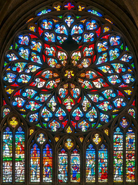 stained glass in the cathedral of laon in france - rose window stock pictures, royalty-free photos & images