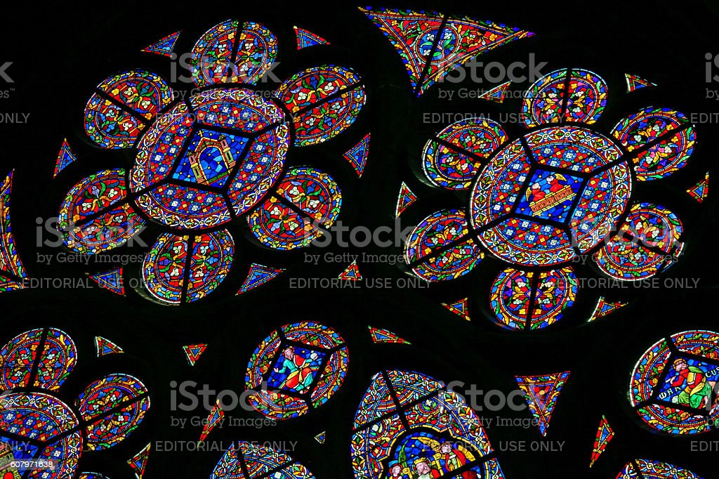 Stained Glass  in the Notre Dame in Dinant stock photo
