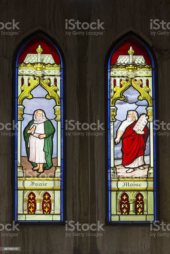 Stained glass Isaac and Moses stock photo