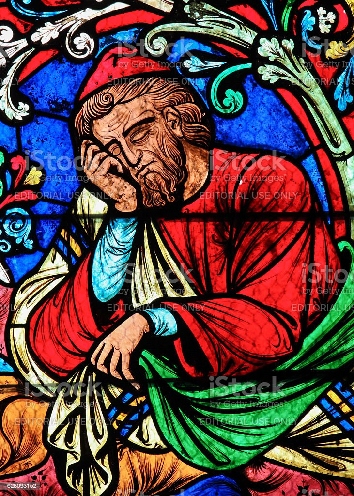 Stained Glass - Jesse, Father of King David stock photo