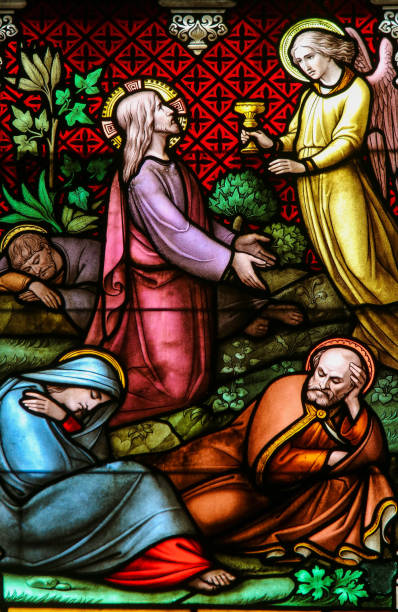 Stained Glass - Jesus Christ in the Garden of Gethsemane stock photo