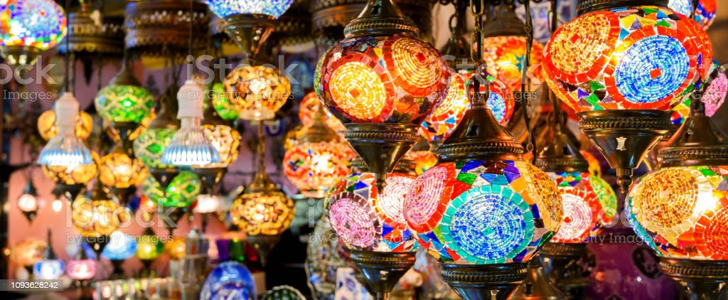 Stained glass lamps in Grand Bazaar, Istanbul, Turkey stock photo