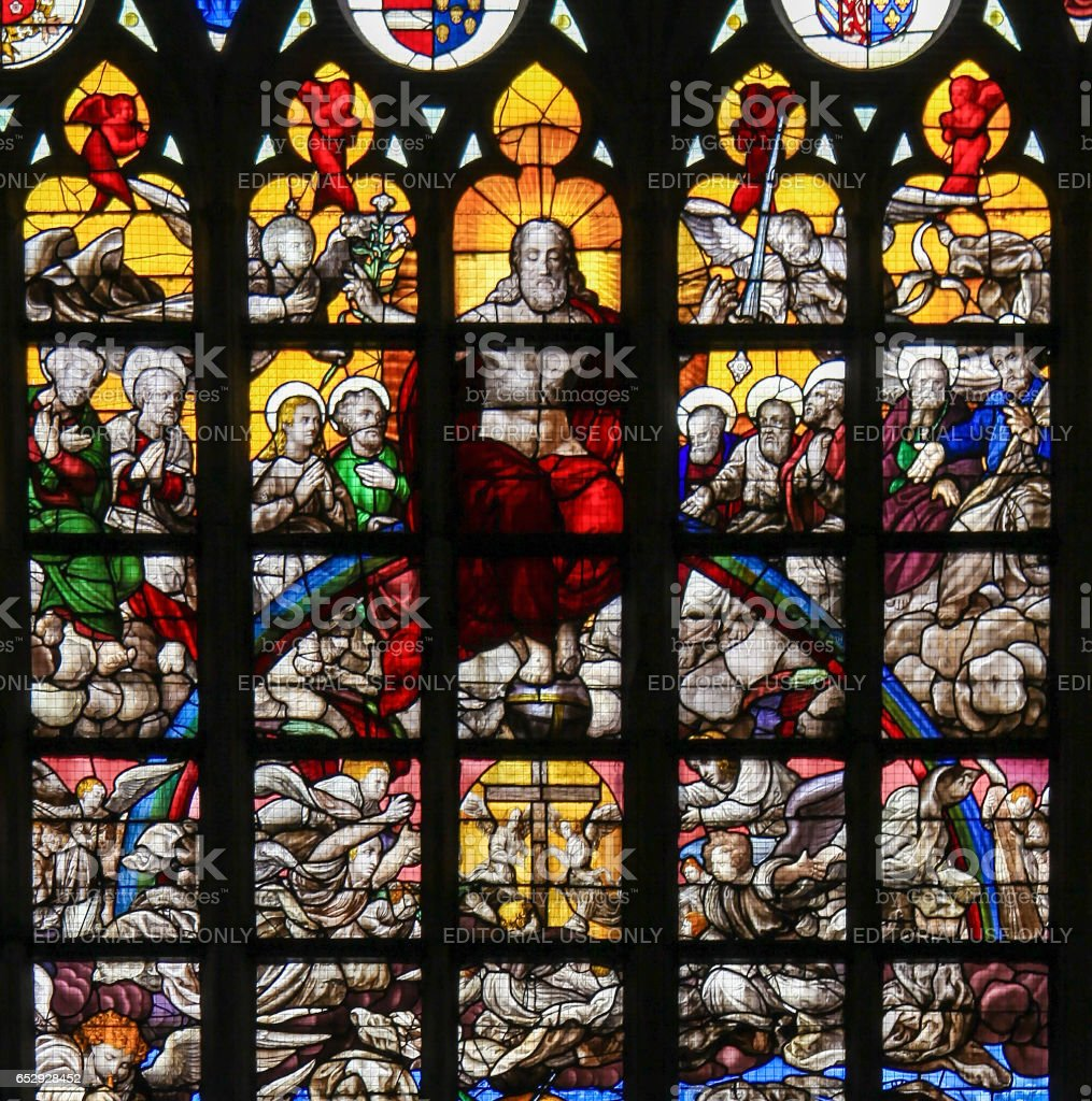 Stained Glass - Last Judgment in Brussels Cathedral stock photo