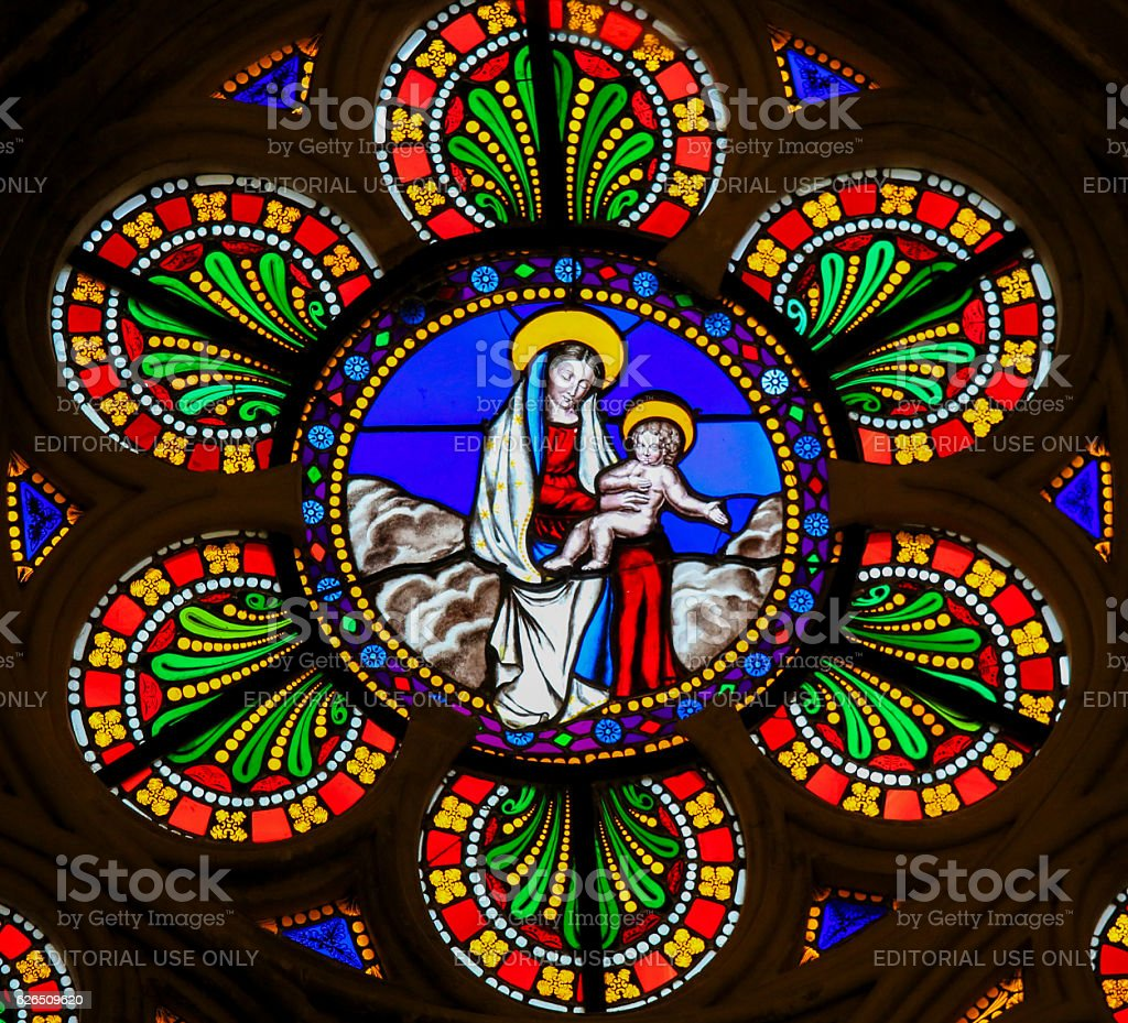 Stained Glass - Madonna with Child stock photo