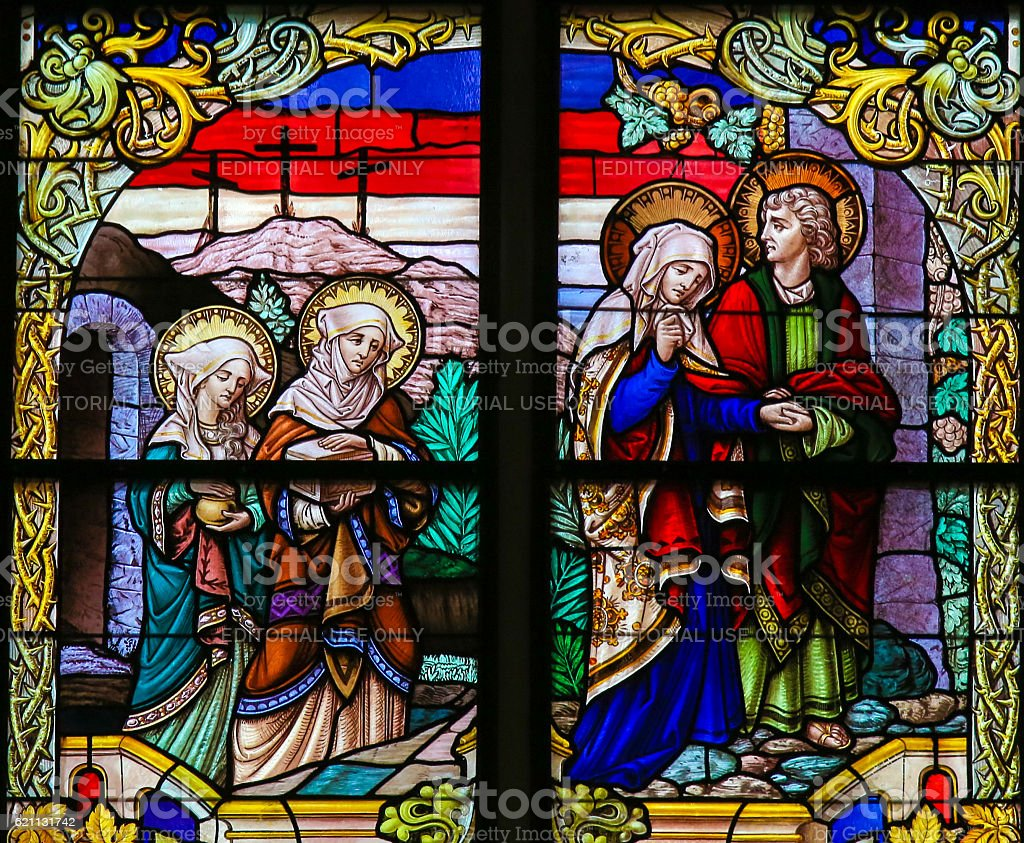 Stained Glass - Mary and Saint John on Good Friday stock photo