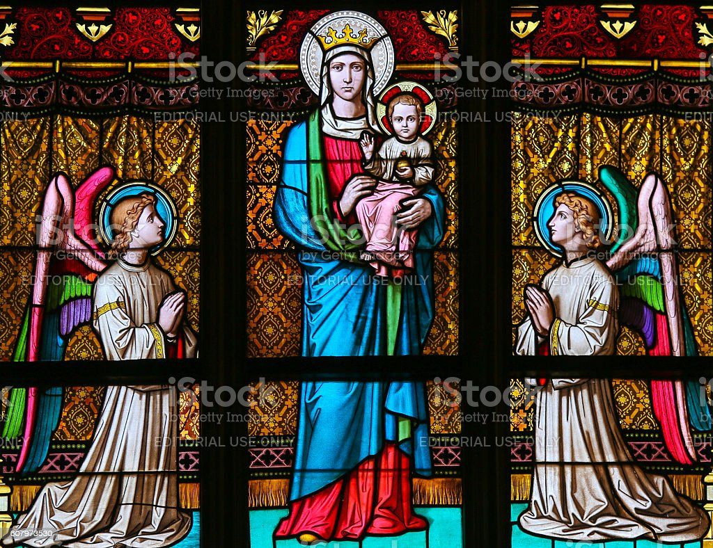 Stained Glass - Mother Mary and angels stock photo