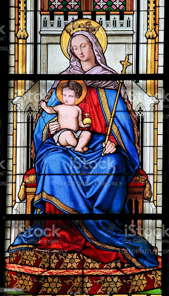 Stained Glass - Mother Mary and the child Jesus stock photo