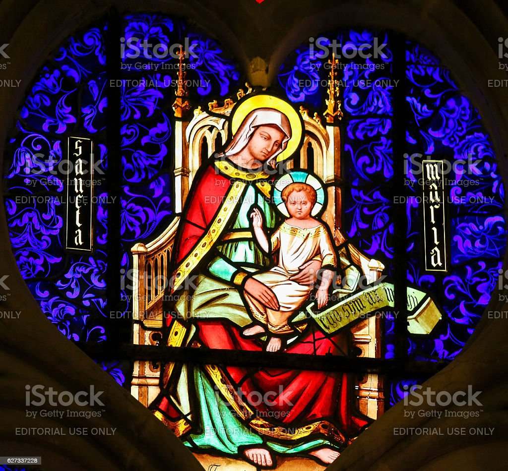 Stained Glass - Mother Mary with the Child Jesus stock photo