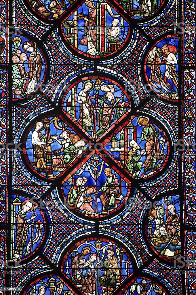 Stained glass of a cathedral in Chartres France stock photo