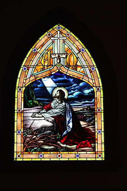 Stained Glass Of Jesus In Century Old Church stock photo
