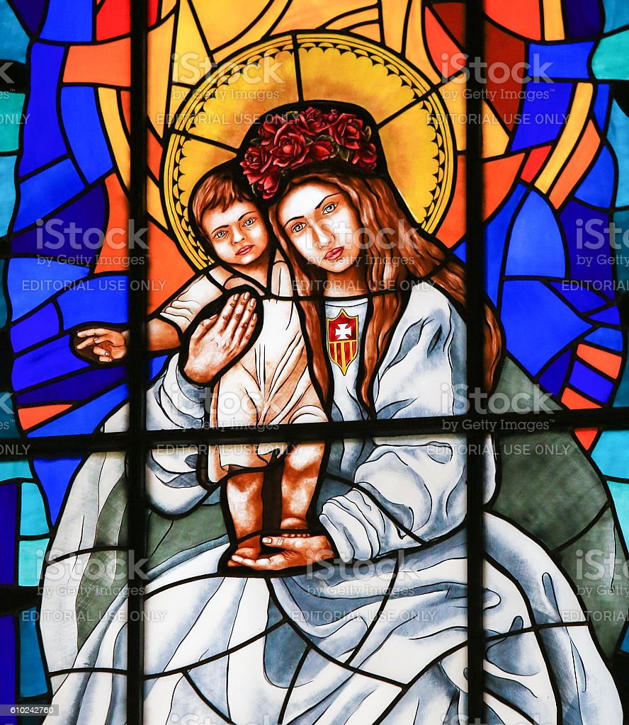 Stained Glass of Madonna with Child in Madrid Cathedral stock photo