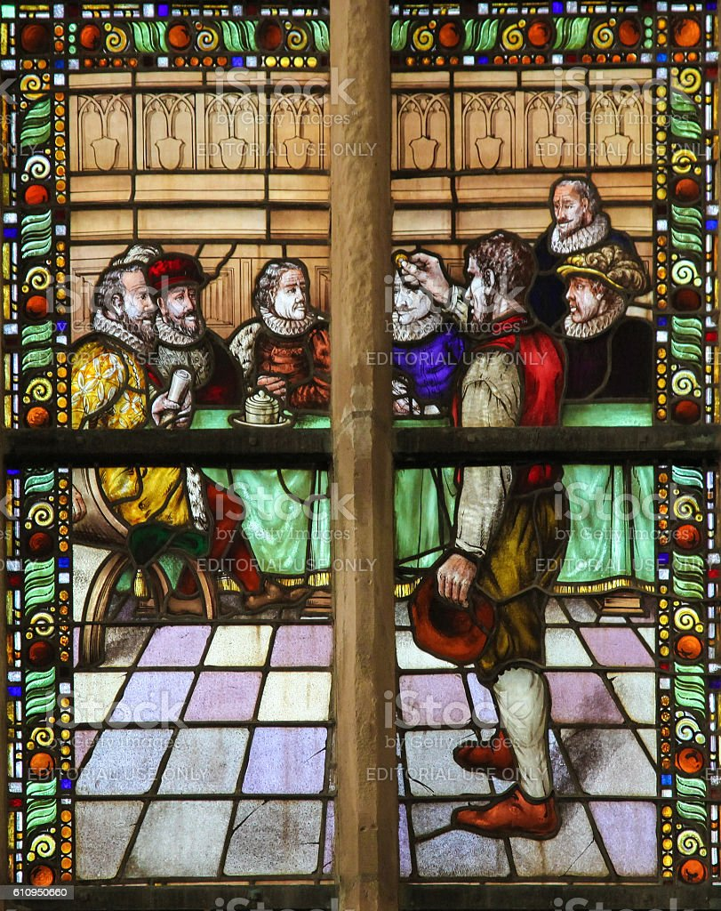 Stained Glass of the Conquest of Den Briel stock photo