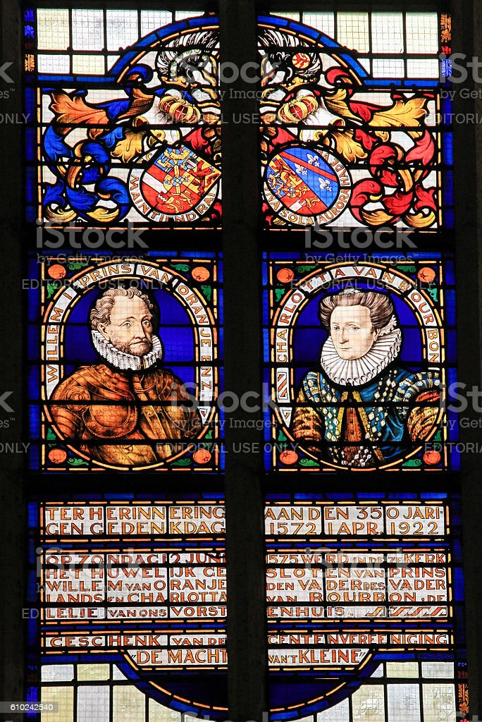 Stained Glass of William I, Prince of Orange stock photo