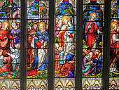 The intricate and delicate art of conveying information through the extravagant glass paintings in an Abbey.