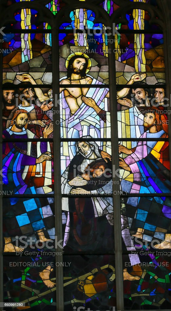 Stained Glass - Parable of the Prodigal Son stock photo