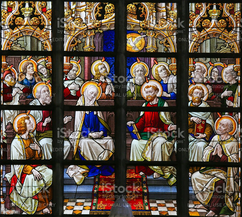 Stained Glass - Pentecost stock photo