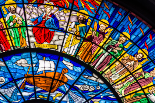 Stainded glass in the Basilica of Eger, Hungary.