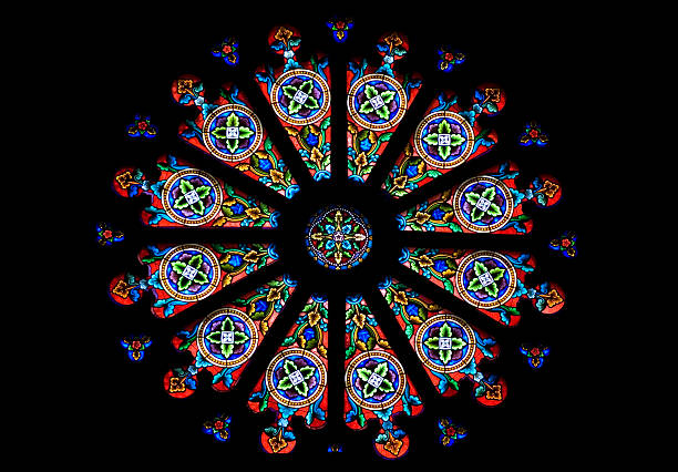 stained glass - rose window stock pictures, royalty-free photos & images