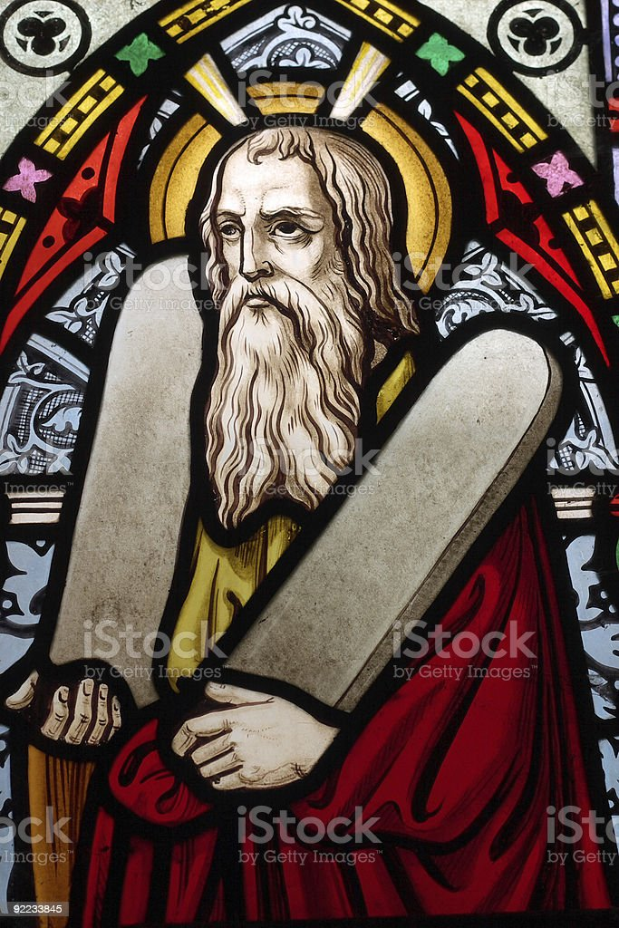 Stained glass portrait of Moses stock photo