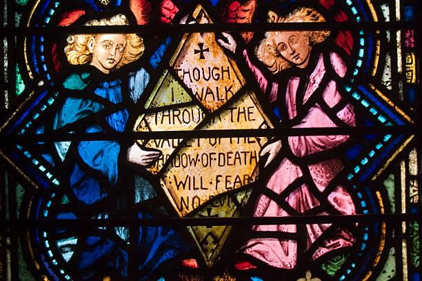 glasmalerei psaltery - psalm stock-fotos und bilder