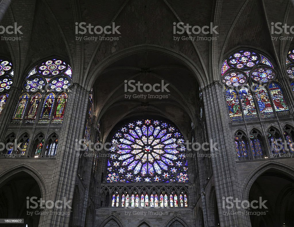 Stained glass rose window, Paris France stock photo
