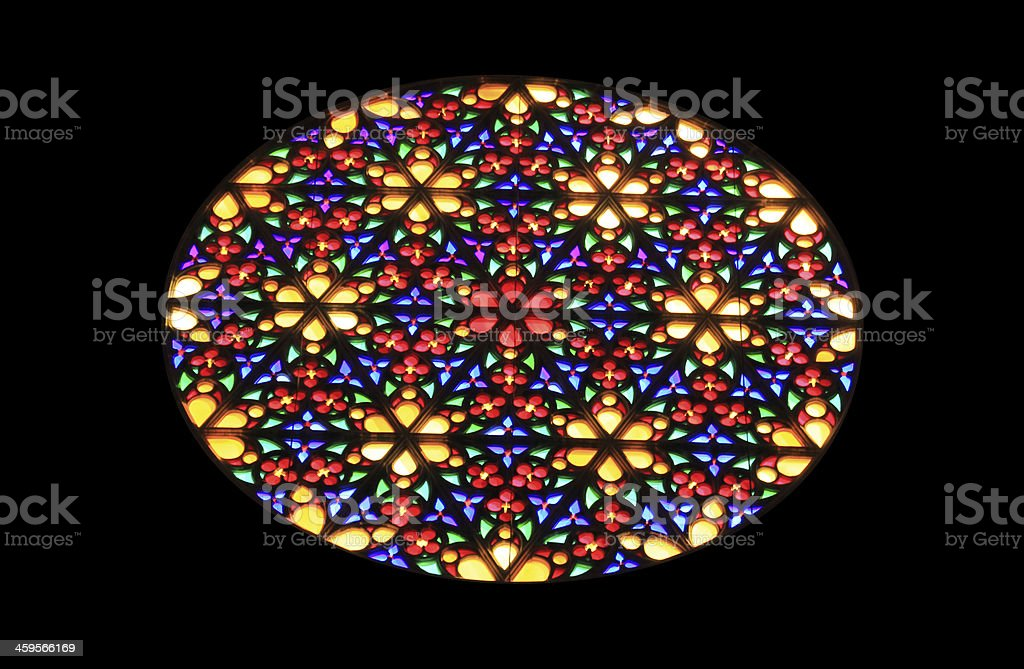 Stained glass rose window. stock photo