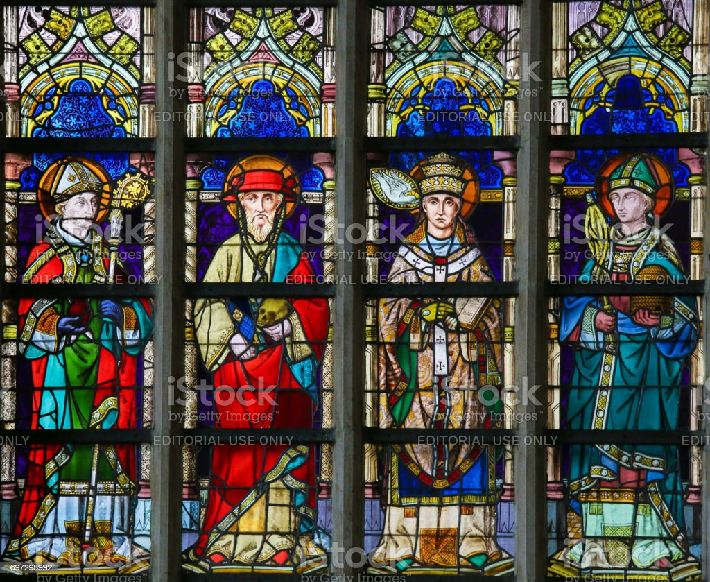 Stained Glass - Saint Augustine, Jerome, Gregory and Ambrose stock photo