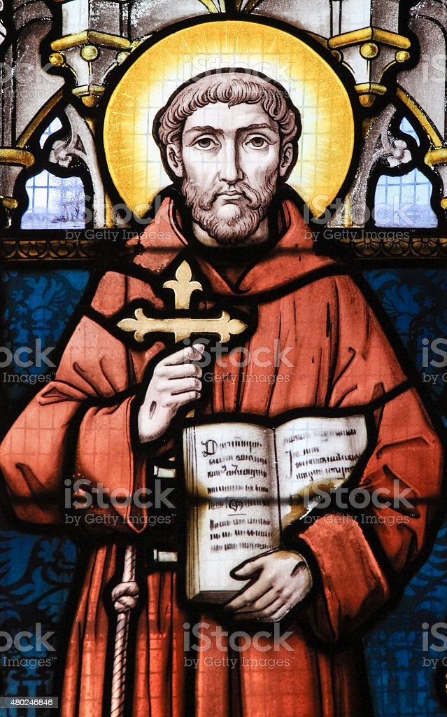 Stained Glass - Saint Francis of Assisi stock photo
