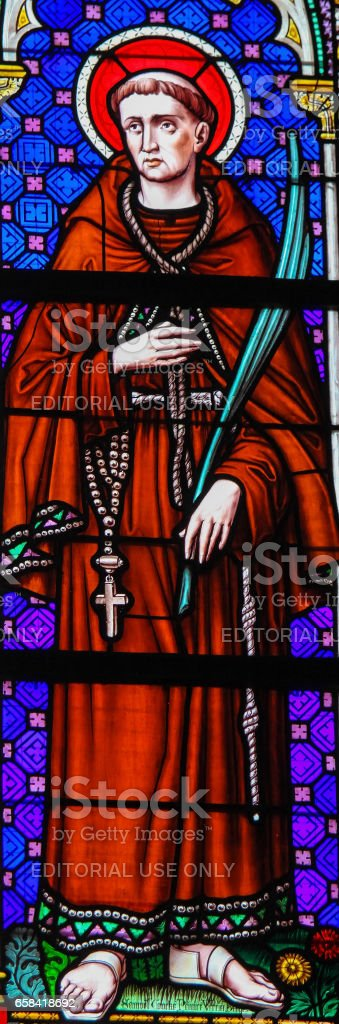 Stained Glass - Saint Francis stock photo