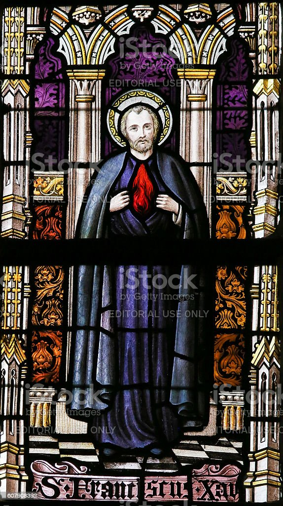 Stained Glass - Saint Francis Xavier stock photo