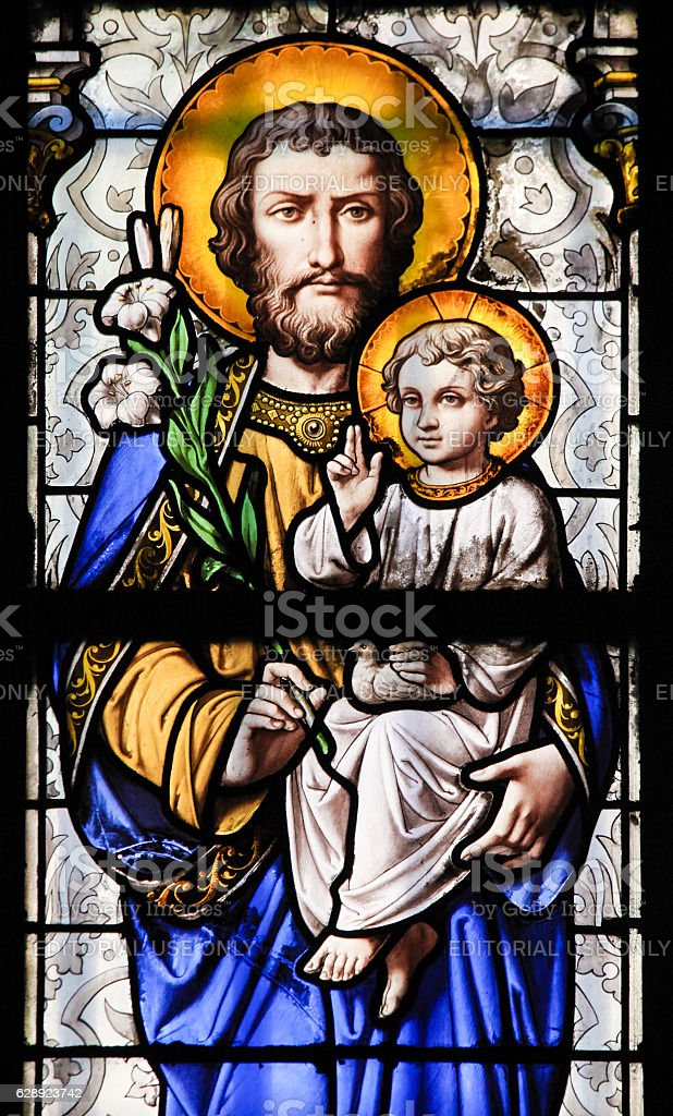 Stained Glass - Saint Joseph and Jesus as a Child stock photo