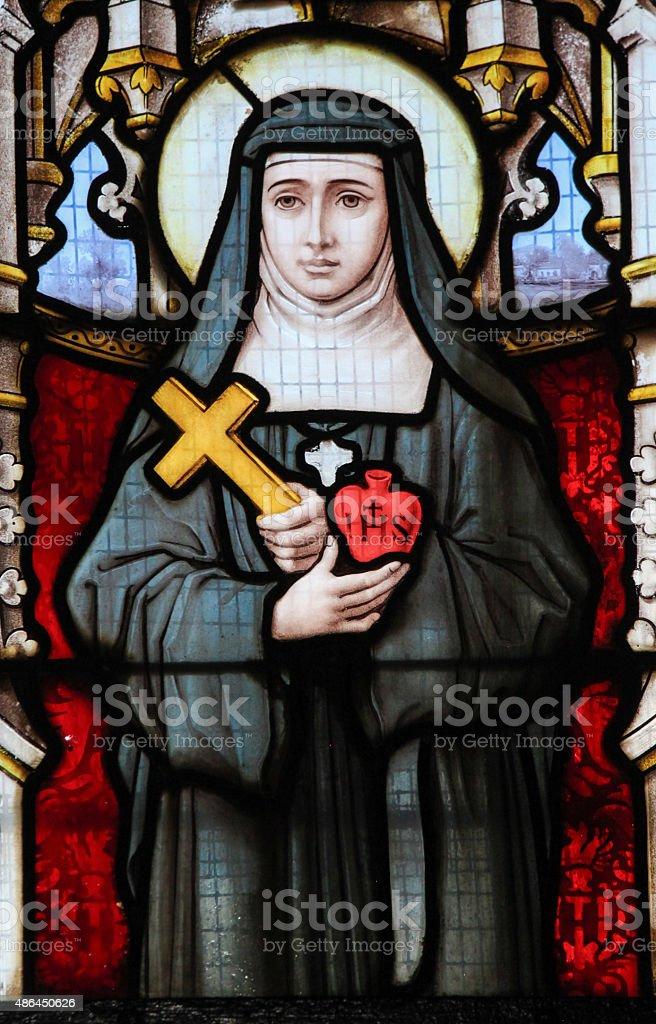 Stained Glass - Saint Lutgarde and the Sacred Heart stock photo