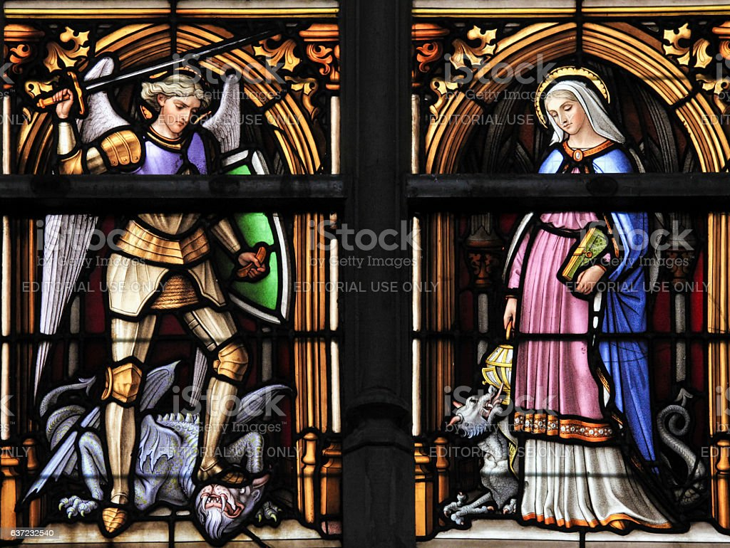 Stained Glass - Saint Michael and Saint Gudula, Patron stock photo