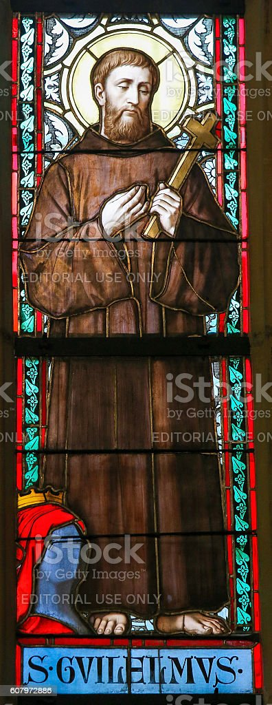 Stained Glass - Saint William of Gellone stock photo