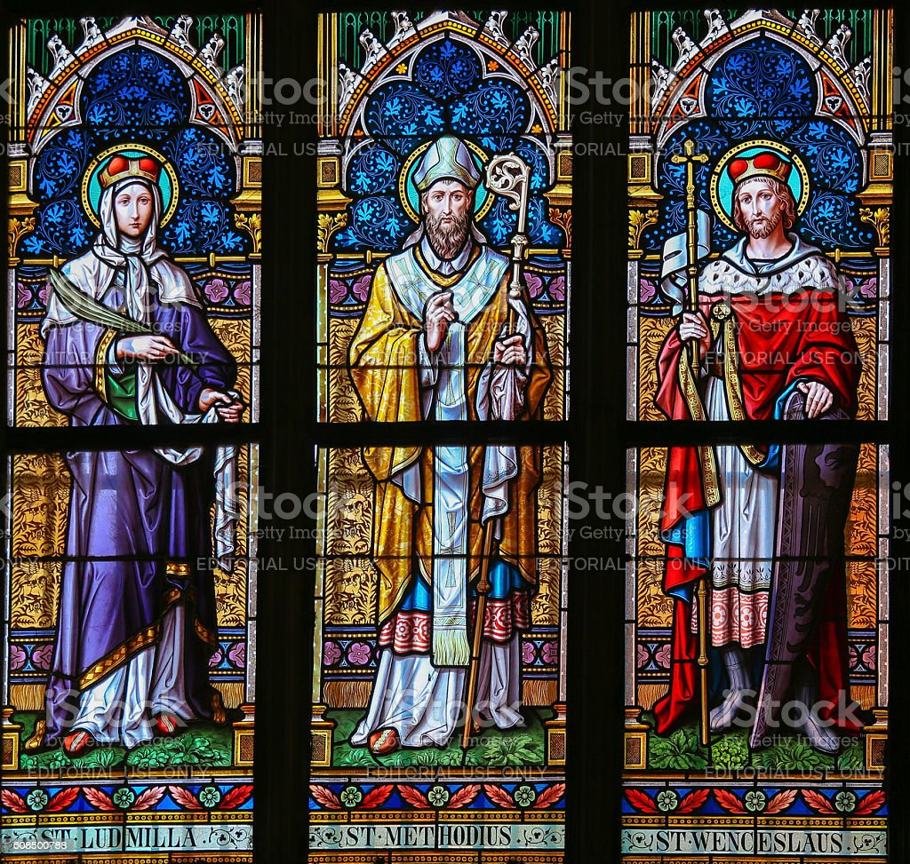 Stained Glass - Saints Ludmilla, Methodius and Wenceslas stock photo