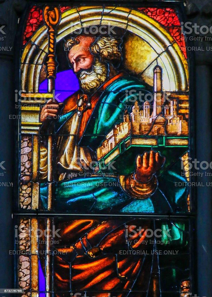 Stained Glass - San Petronio, Patron Saint of Bologna stock photo