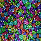 Glass seamless texture with relief pattern, colored glass, 3d illustration