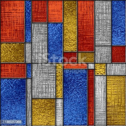 Colored glass seamless texture with relief pattern, 3d illustration