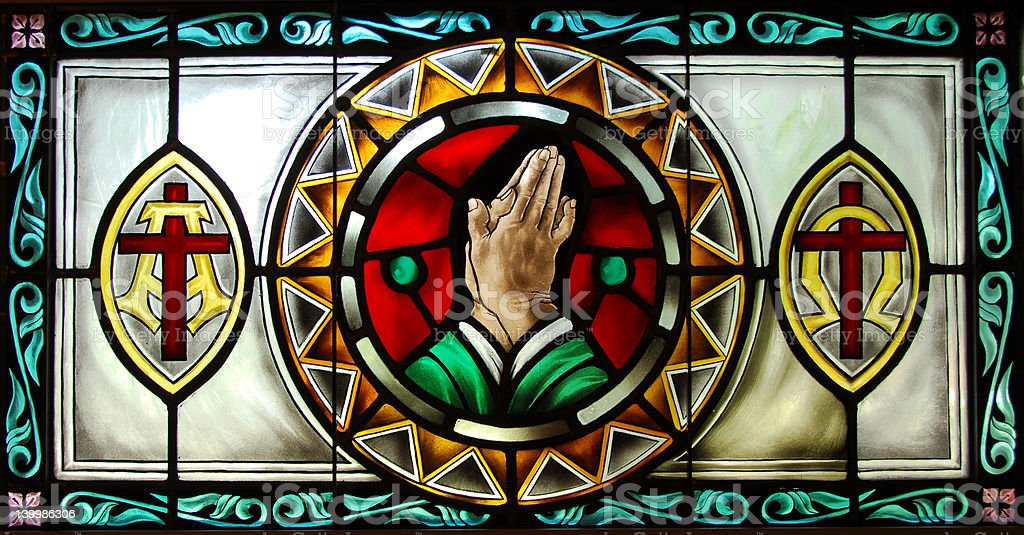 Stained Glass Series: Praying Hands royalty-free stock photo
