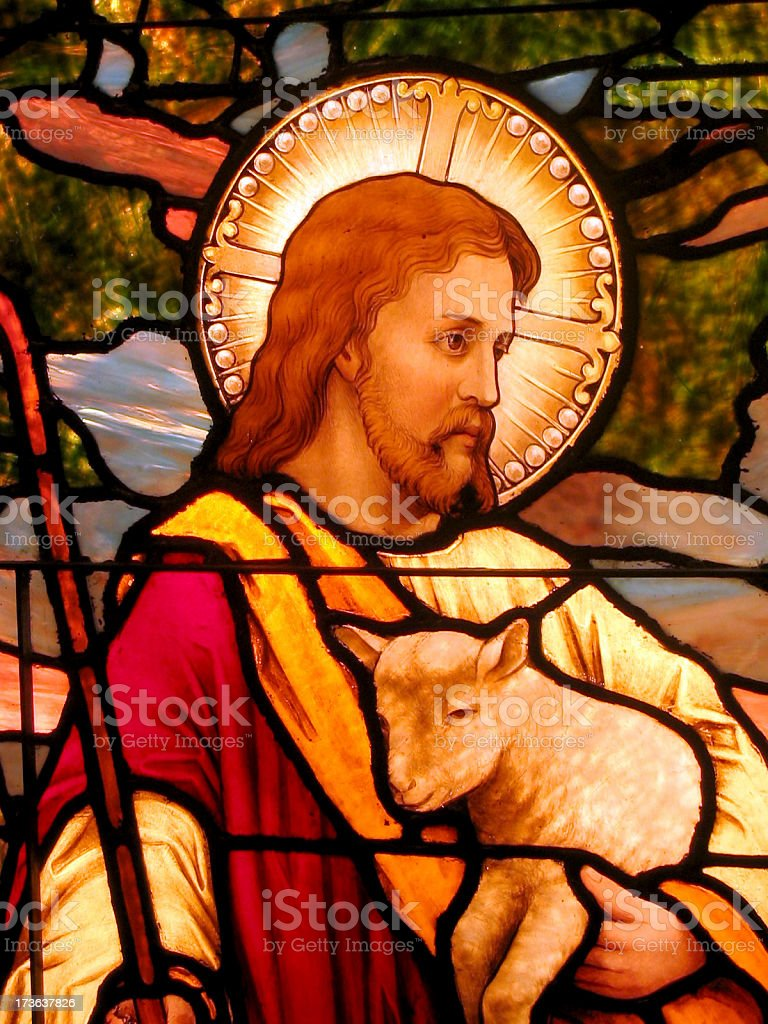 Stained Glass Shepherd royalty-free stock photo
